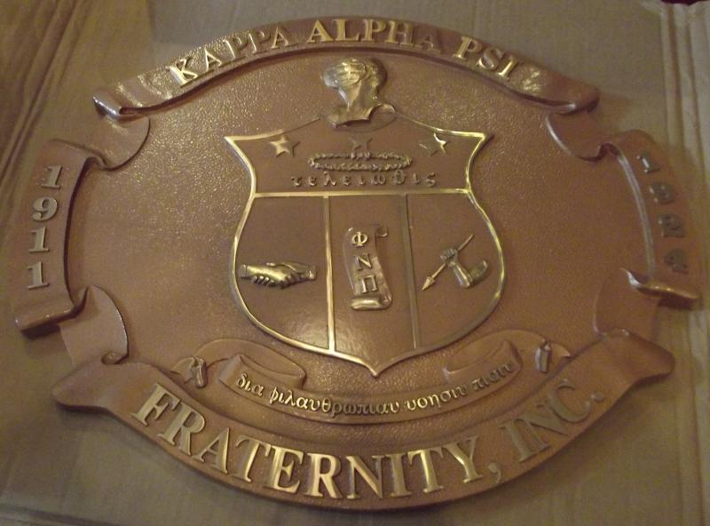 Brass Exterior Signage - Fraternity organization